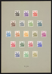Germany: Allied Occupation American, British and Soviet Zones 1947-48 24 pfennig, nineteen colour trails with cleared background. Mounted on card.